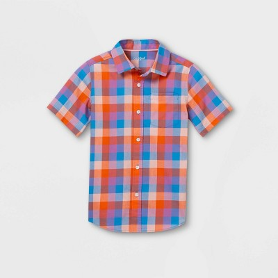 Boys' Woven Short Sleeve Button-Down Shirt - Cat & Jack™ Red/Blue