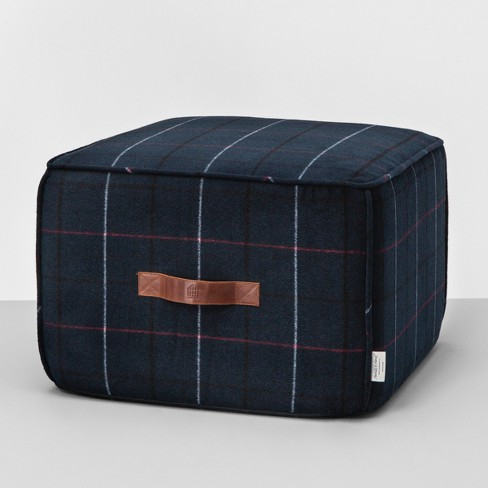 Pouf Ottoman Blue Plaid Hearth Hand With Magnolia
