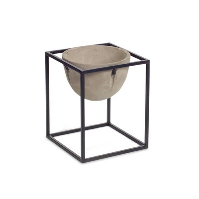 """Melrose 10.5"""" Ivory and Black Solid Pot with Stand Planter Set"""
