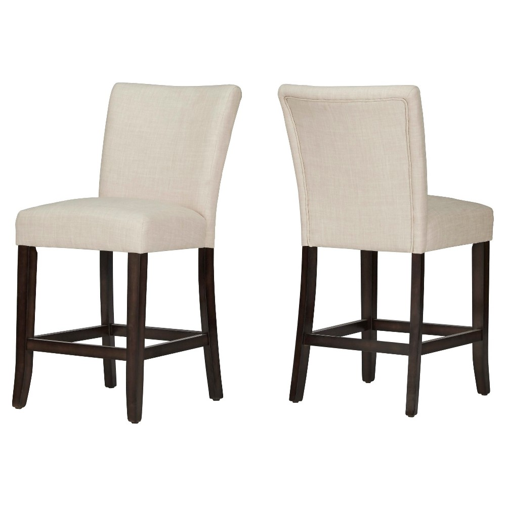 24 InspireQ Quinby Counter Stool - Oatmeal (set of 2), Oatmeal Heather