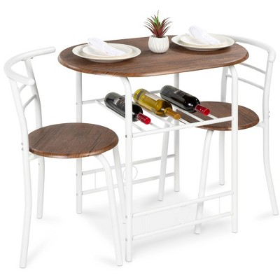 Best Choice Products 3-Piece Wood Dining Room Round Table & Chairs Set w/ Steel Frame, Built-In Wine Rack