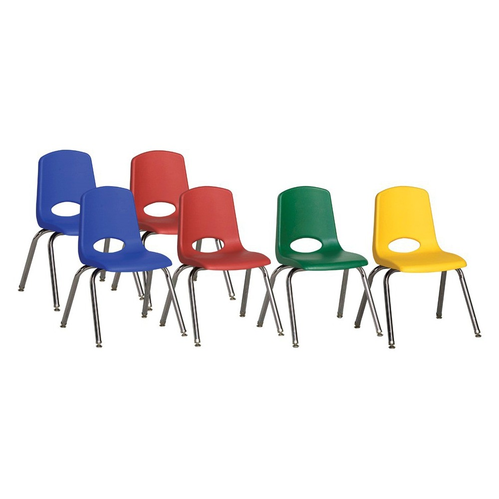 ECR4Kids Stack Chair 16 Assorted Pack with Gliders - Multi-Colored, Blue