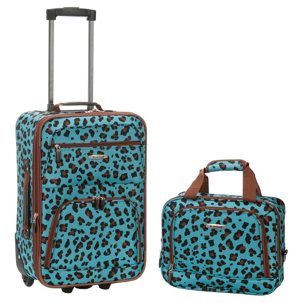 Rockland Fashion 2pc Luggage Set - Blue Leopard