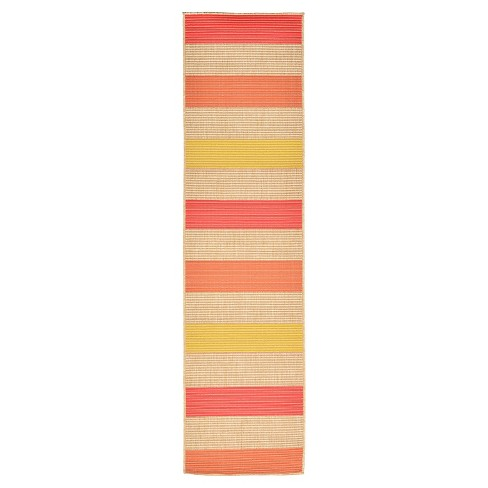 "Playa Indoor/Outdoor Stripe Warm Rug 23""X7'6"" Orange - Liora Manne - image 1 of 1"