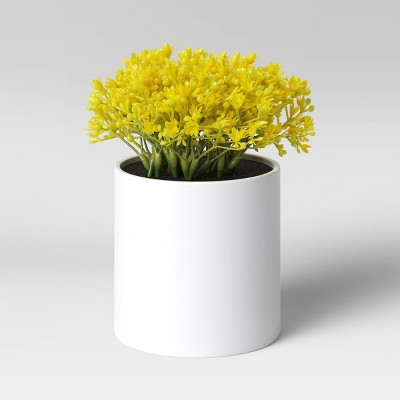 "6"" x 6"" Artificial Mimosa Arrangement in Pot Yellow - Threshold™"