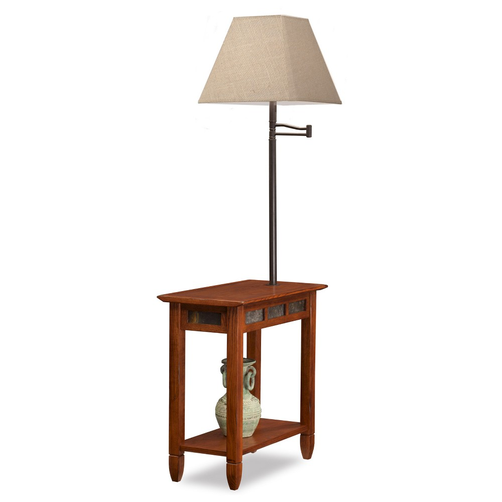 Favorite Finds Chairside Swing Arm Lamp Table with Burlap Shade Rustic Oak (Brown) - Leick Home