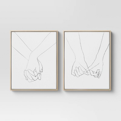 """(Set of 2) 16"""" x 20"""" Hands Framed Canvas - Project 62™"""
