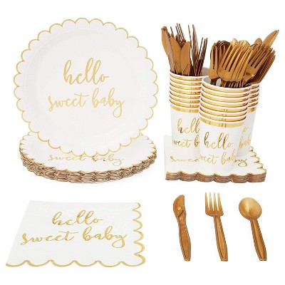 Serves 24 Hello Sweet Baby Shower Party Supplies Decorations for Kids Boys Girls