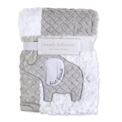 Wendy Bellissimo Elephant Textured 2 Ply Plush Blanket