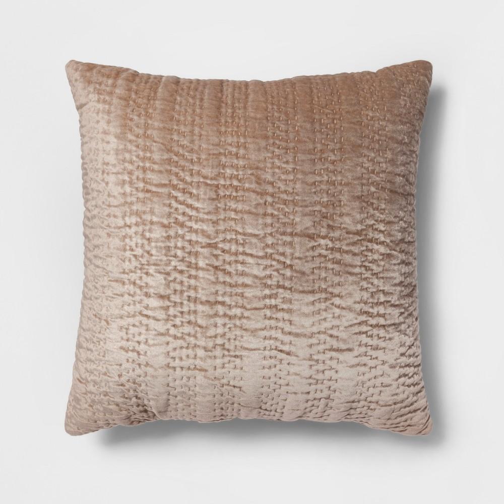Textured Velvet Oversize Square Throw Pillow Neutral - Opalhouse