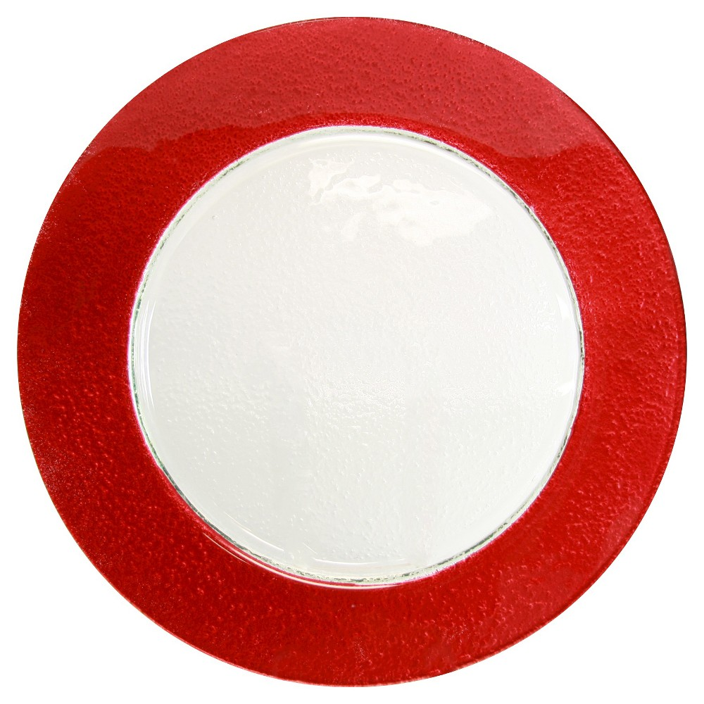"""Image of """"10 Strawberry Street Colored Rim Glass Charger Plates Red - 13""""""""x13"""""""" Set of 6"""""""