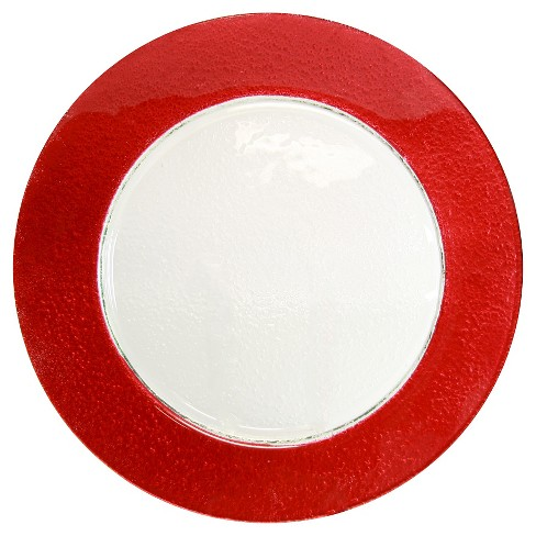 10 Strawberry Street Colored Rim Glass Charger Plates Red - Set of 6 - image 1 of 1
