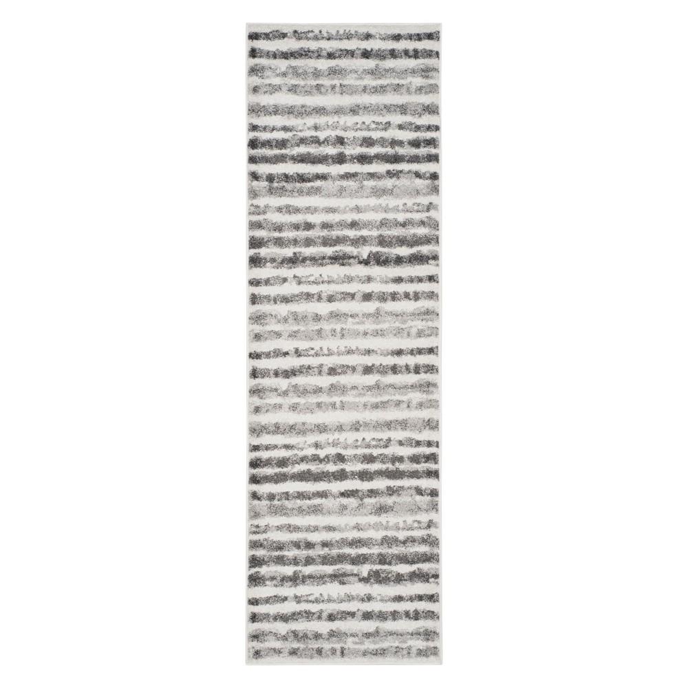 2'6X12' Stripe Runner Ivory/Charcoal - Safavieh, Gray White