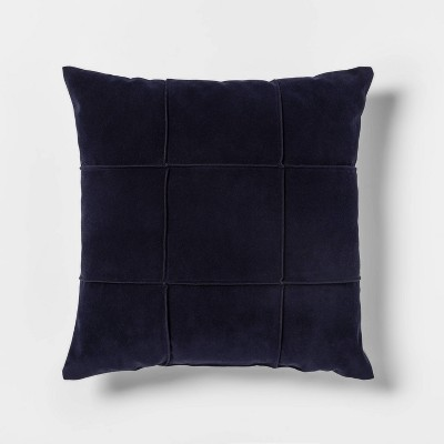 Faux Suede Square Throw Pillow Dark Blue - Threshold™