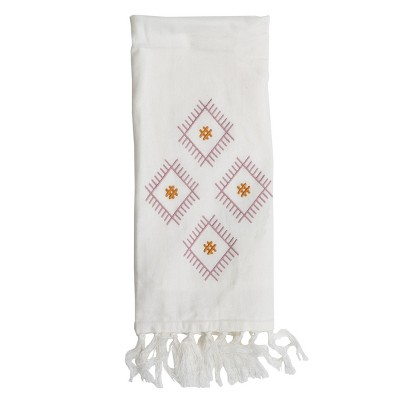 Embroidered Diamond 27 x 18 Inch Woven Kitchen Tea Towel with Hand Sewn Fringe - Foreside Home & Garden