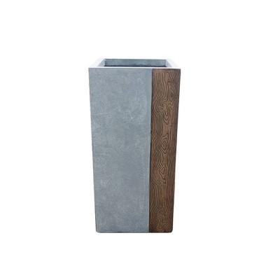 Kante Lightweight Concrete Tall Modern Square Outdoor Planter - Rosemead Home & Garden, Inc