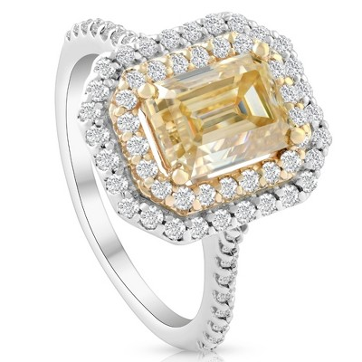 Pompeii3 VS 2Ct Fancy Yellow Emerald Moissanite & Lab Created Diamond Engagement Gold Ring - Size 6.5