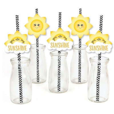 Big Dot of Happiness You are My Sunshine Paper Straw Decor - Baby Shower or Birthday Party Striped Decorative Straws - Set of 24