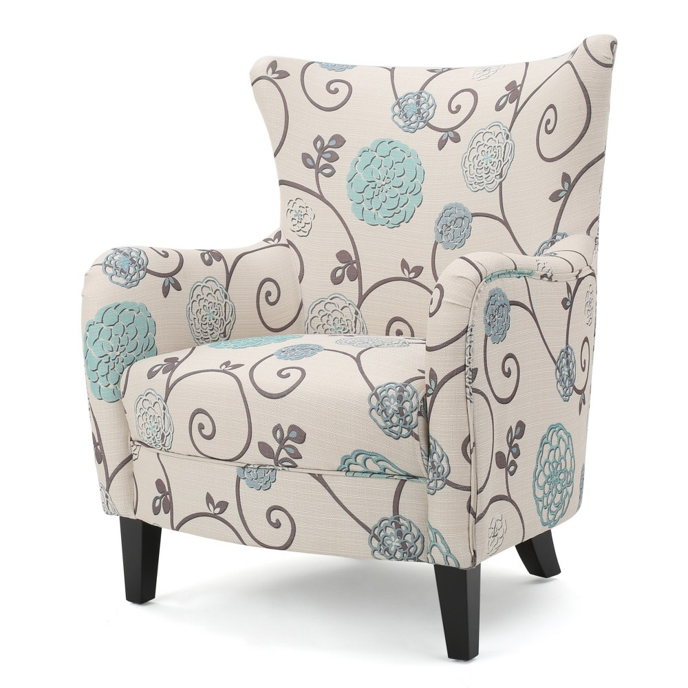 Arabella Club Chair - White/Blue Floral- Christopher Knight Home, Multi-Colored