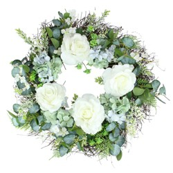 Northlight Peony and Geranium Twig Artificial Floral Wreath, White 24-Inch