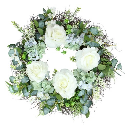 Northlight Peony and Geranium Twig Artificial Floral Wreath, White 24-Inch - image 1 of 3