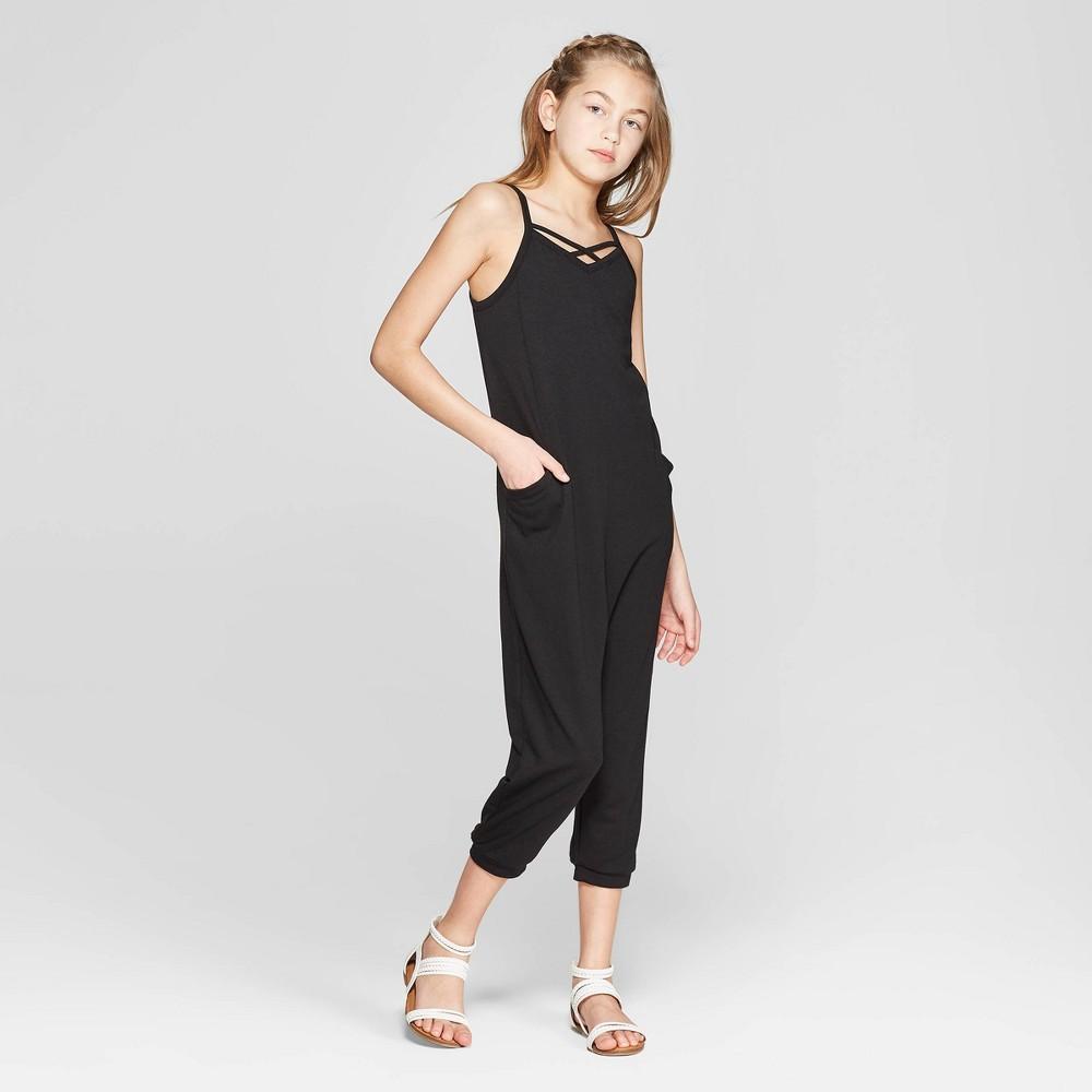 Girls' Jumpsuit with Side Pockets - art class Black XL