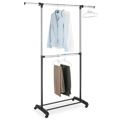 Whitmor Double Rod Adjustable Garment Rack Black and Chrome