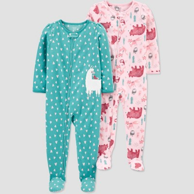Baby Girls' 2pk Llama Footed Pajama - Just One You® made by carter's Blue 9M