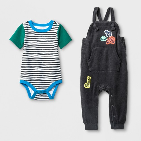 d0af51cc4 Baby Boys  2pc Bodysuit And Terry Overall Set - Cat   Jack™ Charcoal ...
