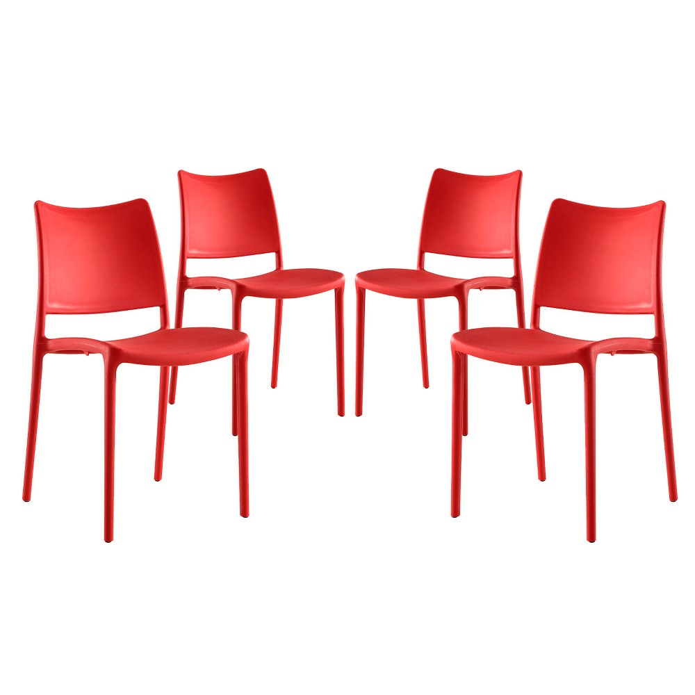 Hipster Dining Side Chair Set of 4 Red - Modway