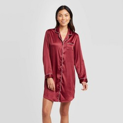 Women's Satin Notch Collar Nightgown - Stars Above™ Burgundy