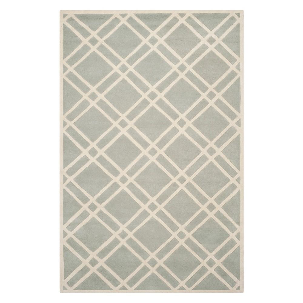 5'X8' Geometric Tufted Area Rug Gray/Ivory - Safavieh