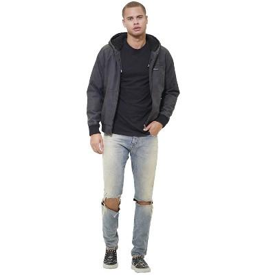 Members Only Mens Vegan Leather Hooded Bomber Jacket