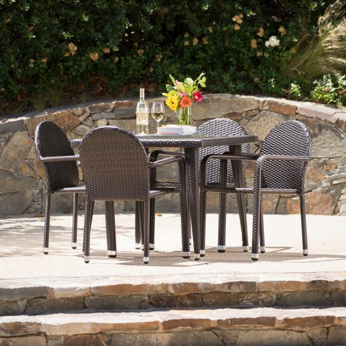 Astor 5pc Wicker Dining Set - Christopher Knight Home - image 1 of 4