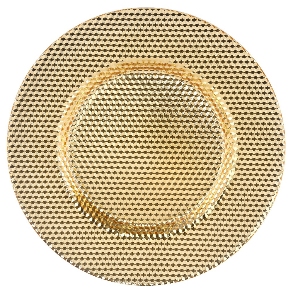 Image of 10 Strawberry Street 13 Deco Glass Charger - Gold, Golden Mist