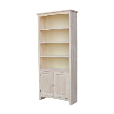 72  Shaker Bookcase with Two Lower Doors Wood - International Concepts