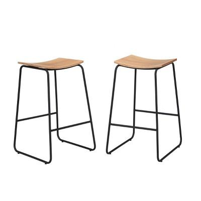 "Set of 2 24"" Leland Saddle Seat Counter Height Barstools - Carolina Chair & Table"