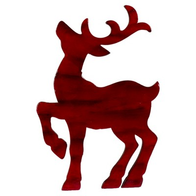 Northlight 8in Red and Black Stained Standing Reindeer Christmas Tabletop Decor