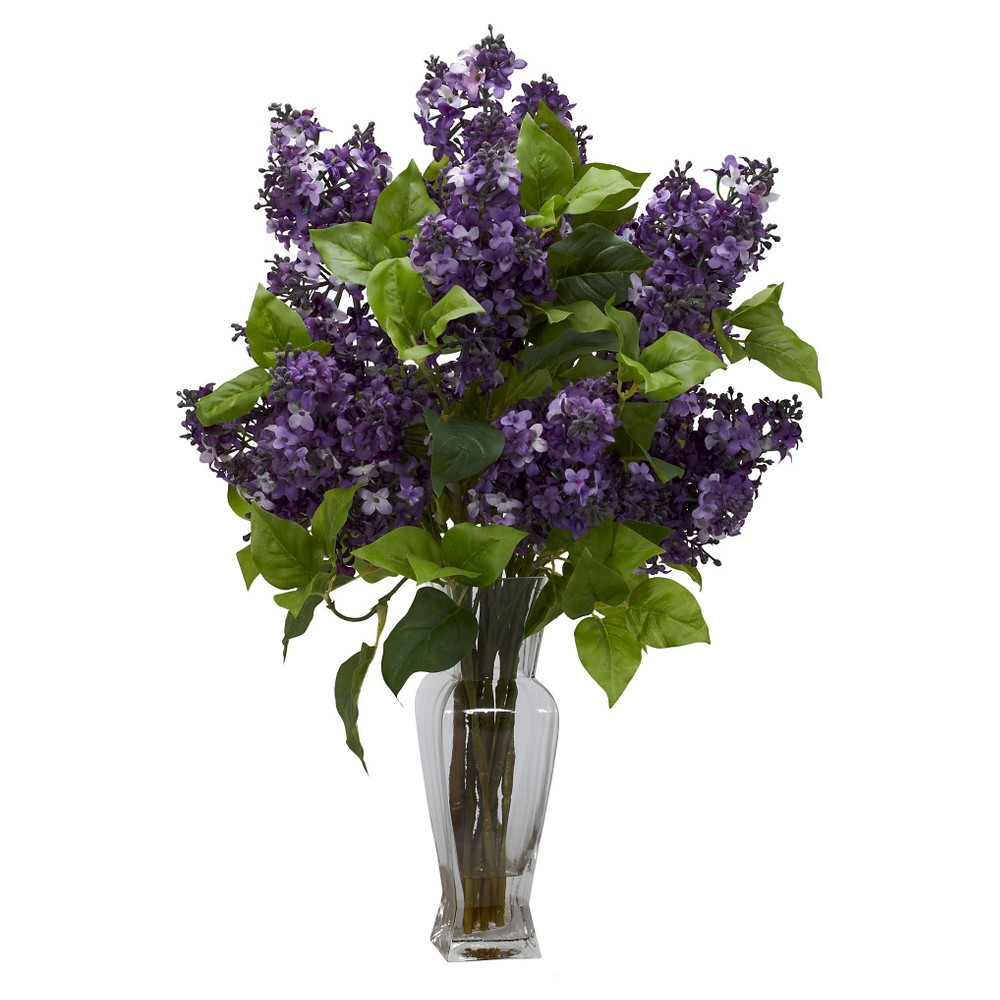 Nearly Natural Lilac Silk Flower Arrangement in Glass Vas...