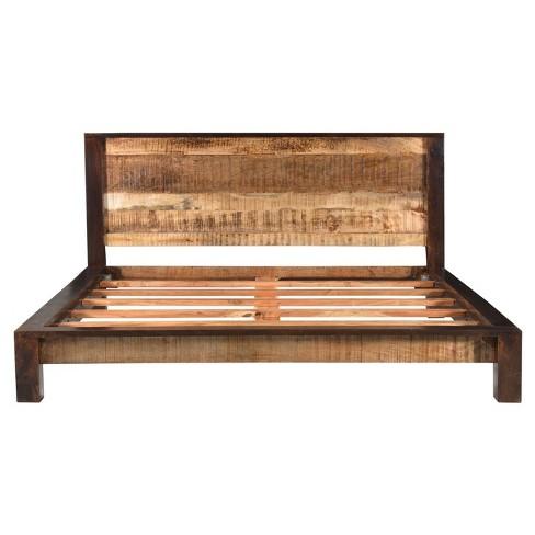 Surat Solid Wood Bed Brown Queen, Solid Wood Queen Bed