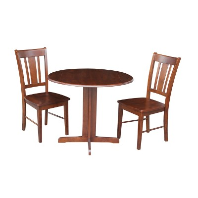 """Set of 3 36"""" Dual Table with 2 San Remo Chairs Dining Sets Brown - International Concepts"""