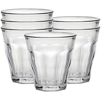 Duralex Picardie Set of 6 Short 7.75 Ounce Clear Tempered Glass Stacking Drinkware Tumbler Drinking Glasses