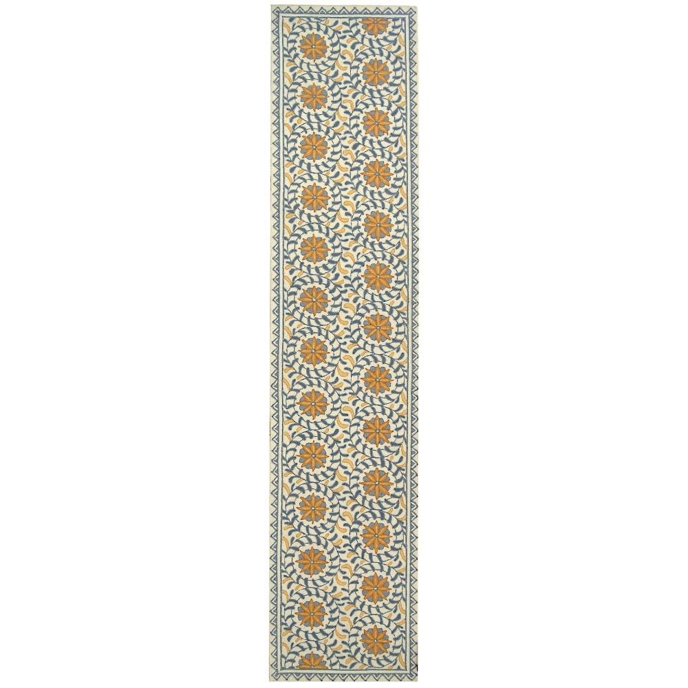 2'6X14' Floral Hooked Runner Ivory/Blue - Safavieh, White