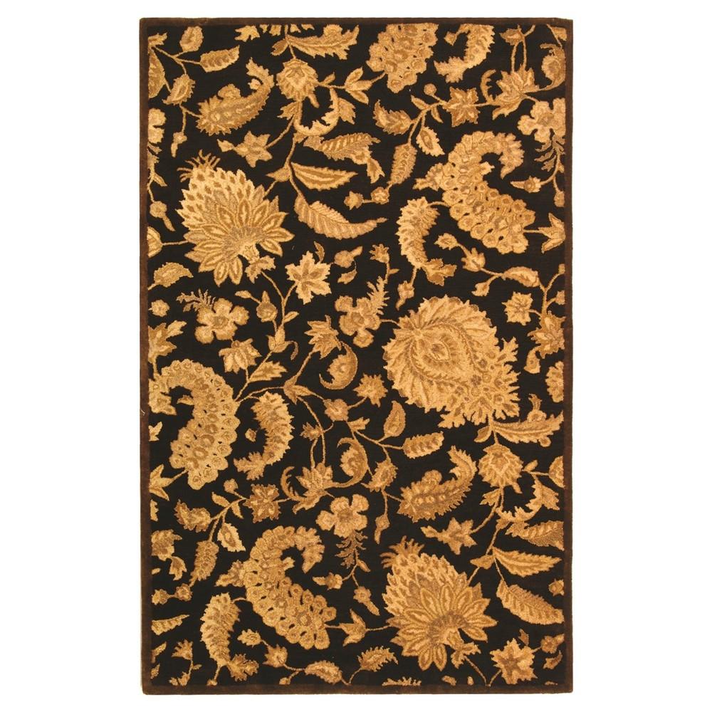 Dark Brown Floral Tufted Runner 2'3X8' - Safavieh