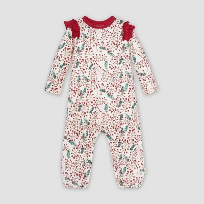 Burt's Bees Baby® Baby Girls' Organic Cotton Very Berry Holiday Jumpsuit   Red/White by Burt's Bees Baby
