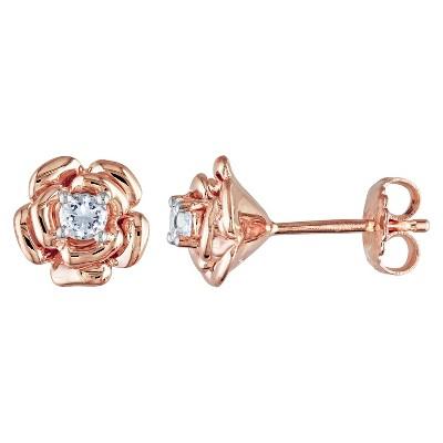 0.3 CT. T.W. White Sapphire Flower Stud Earrings in Sterling Silver - Pink