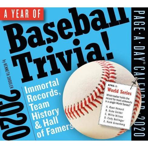 Baseball Calendar 2020 A Year Of Baseball Trivia! Page A Day Calendar 2020   By Kenneth