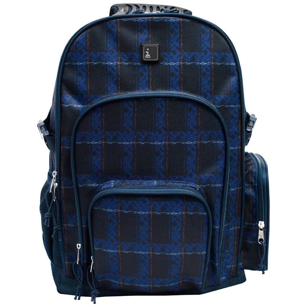 "Image of ""iPACK 17.5"""" Plaid Print Backpack - Blue, Size: Large"""