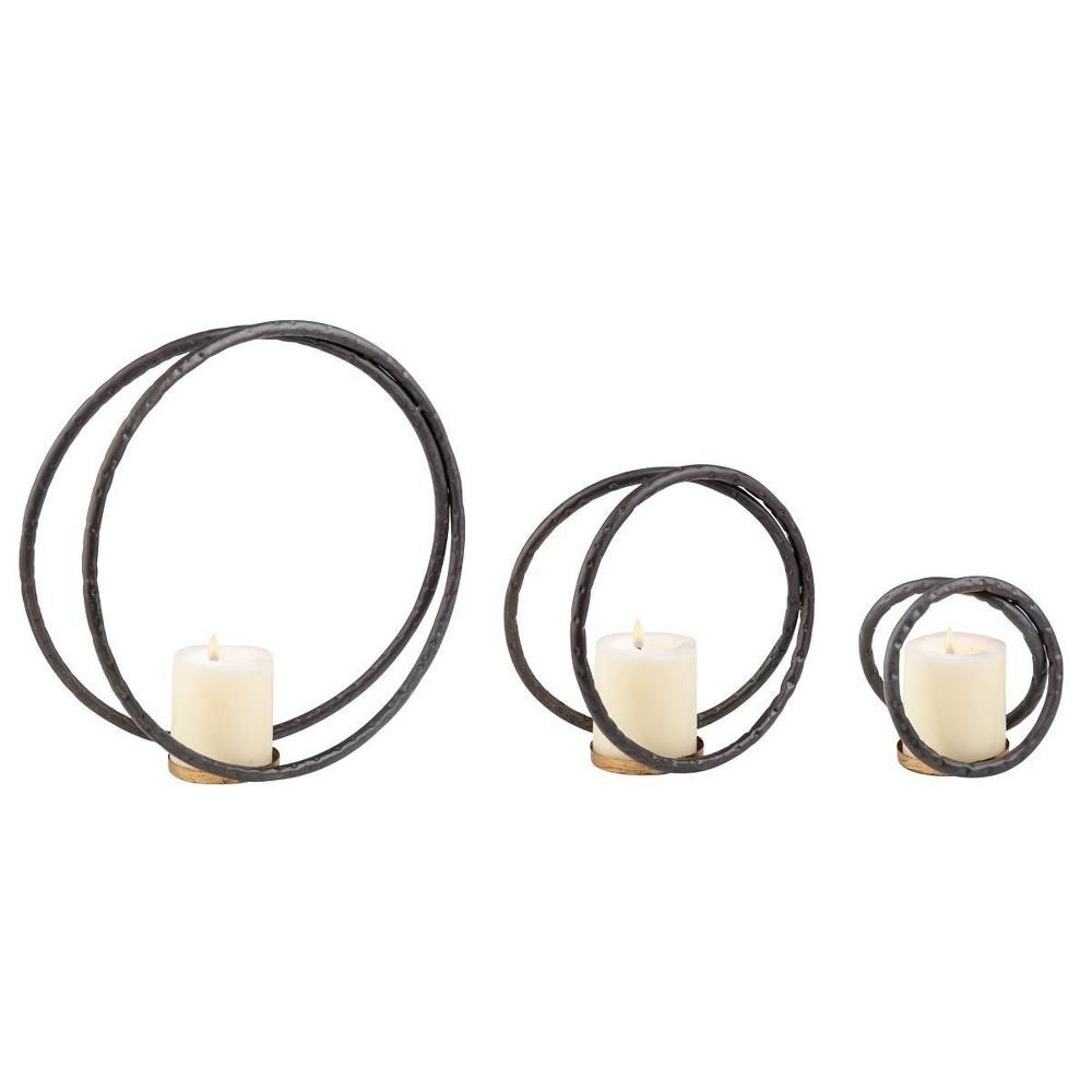 Brea Tealight Holder, Set of 3 - Foreside Home & Garden, Black