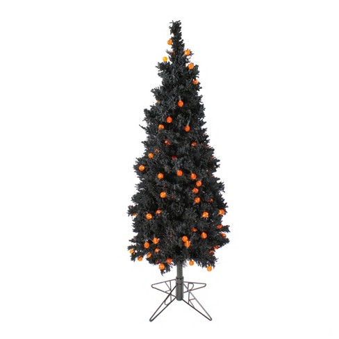 Allstate 4 5 Prelit Artificial Christmas Tree Flocked Black Orange Lights